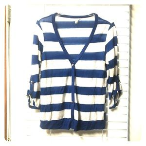 Blue/white striped cardigan